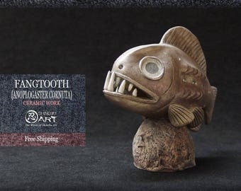 Ceramic Fangtooth, Interior Ceramic Figurine, Hand-built Ceramic Art, Deep Sea Fish Art, Free Shipping