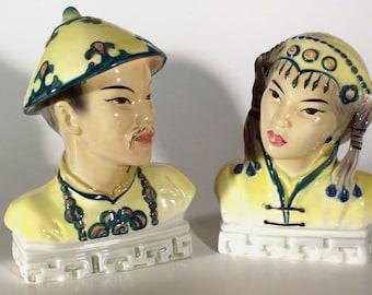 Vintage Helen Liedloff Asian Porcelain Mongolhead Bust Figures