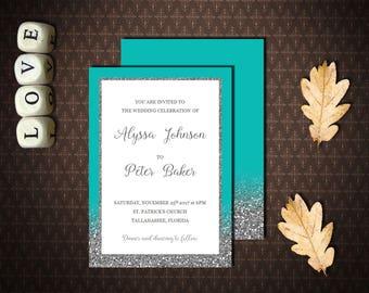 Tiffany Blue and Silver Wedding Invitation, Turquoise Wedding Invitation, Editable template, Printable template, Microsoft Word, code-048-2