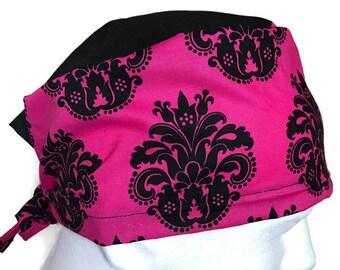 Hot pink/Black Surgical cap/ Scrub hat/ Cemo Cap