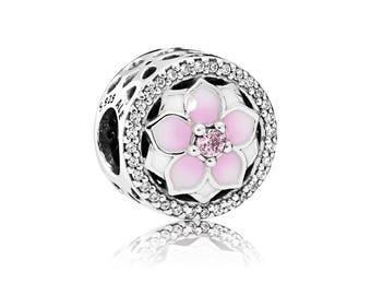 Authentic PANDORA Magnolia Bloom Charm, Pale Cerise Enamel & Pink Cubic Zirconia (rt)
