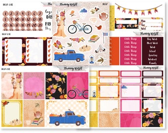 Fall of Rain//VERTICAL Weekly Kit for Erin Condren, Happy Planner//Fall Sticker Kit//7 Sheets of Stickers//B037