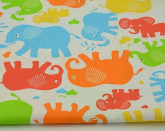 Fabric 100% cotton half a metre (50 x 160 cm), 100% elephants on a white colored cotton