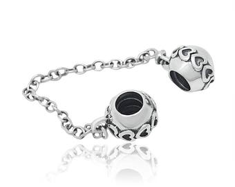 Pandora Hearts Safety Chain  Sterling Silver S925
