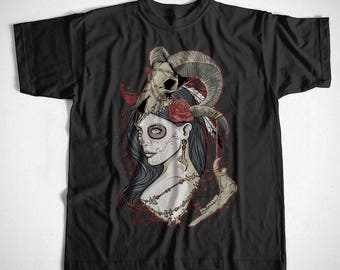 T-Shirt Dead Queen S-XXL Pinup Girl Gothic Skull Death Goth Manga Comic
