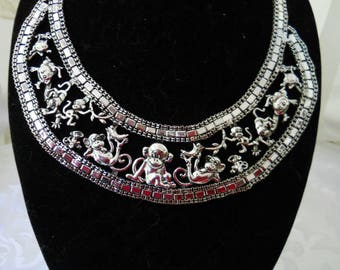 Sliver Tone Monkey  Statement Necklace And Earrings # 254
