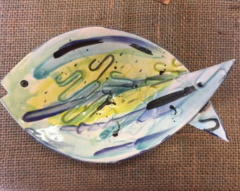 Ceramic Fish Dish Hand crafted White Earthenware