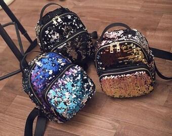 Black silver sequins zip mini backpack
