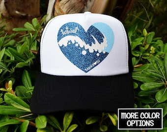 Salty Wave Summer Trucker Hat / cap, mesh, hat, Christian hat, Christian apparel, women's hat, women's trucker hat, Christian trucker hat