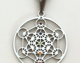 Metatron Pendant in Stainless Steel with inlaid Chakra Colored Gemstones SP-11
