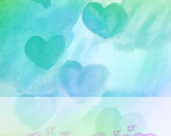 Cute WaterColor Heart Repeated Background