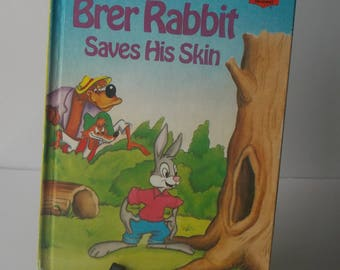 "Walt Disney ""Brer Rabbit Saves His Skin"" Wonderful World of Reading Hard Cover Book, Disney Book, Brer Rabbit Book, Kids Book, Children's"
