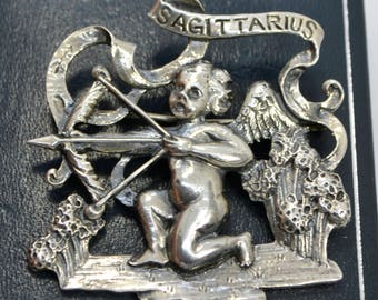 Vintage STERLING SILVER Cini Signed SAGITTARIUS Cherub Brooch / Pin - Larger Size