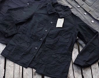 Deadstock 1940s French Black Moleskin Round Collar 3 Pocket Jacket