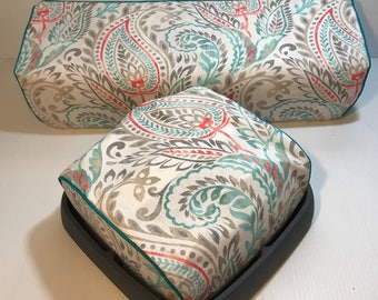 Cricut Maker/Explore/ Air/ Air 2/ One + Easy Press Custom Handmade Gray, White, Teal and Coral Paisley Dust Cover with Teal Piping