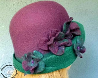 Felted hat cloche merino design elegant festive ultra violet lilac green mother day easter birthday gift valentines for wife sister spring