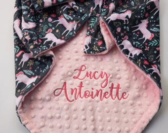 Unicorn Blanket - Personalized Baby Blanket - Minky Baby Blanket - Baby Blanket with Name - Monogrammed Baby Blanket - Unicorn Baby Gift
