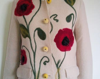 Women's felted jacket, boiled wool, needle felting, poppies, Natural beige