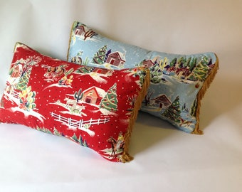 Christmas cactus cowboy fabric  pillow, cushion  with gold piping. Retro inspired snow scene print