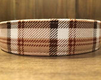 CLASSIC TAN PLAID - Tan, Brown and White Plaid Dog Collar - Made to Order Dog Collars, Cat Collars and Leashes from Wuppy Wear