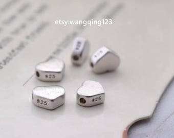 5 or 10 sterling silver heart spacer beads bead spacers