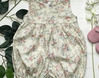 Vintage Cotton Floral Baby Romper. 0-4 years.