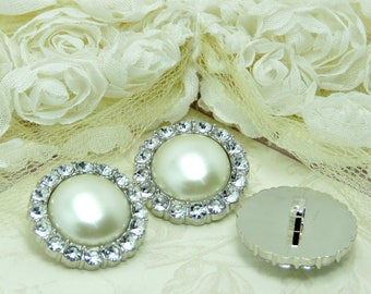 Ivory Pearl Buttons W/ Crystal Clear Rhinestones Silver Acrylic Buttons DIY Wedding Garment Coat Fashion 24mm 3498 J2 Pearl.
