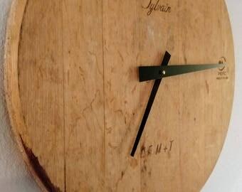 Wine Barrel End Wall Clock