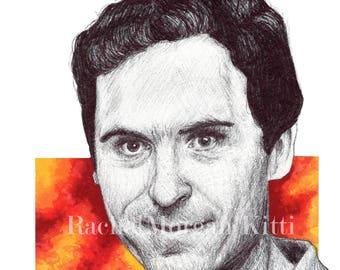 Ted Bundy, serial killer, murderer, 1970s, vintage, portrait, creepy, true crime, ink drawing, art print, print,