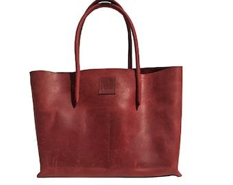 Leather bag Shopper leather used look vintage design handmade