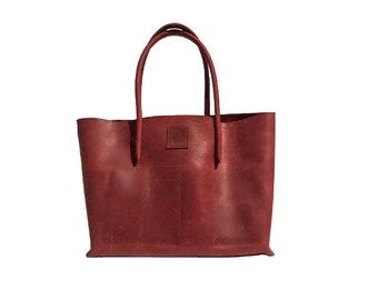 Big leather bag shopping bag Einkaufsshopper shopper red used look handmade