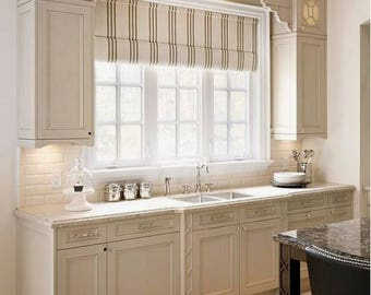 CUSTOM Roman Shades QUICK SHIP Striped Roman Shades Ticking Stripe Kitchen  Window Shades Linen Roman Shade