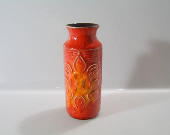 Funky little Bay  Vase  68 17- WGP, West German Pottery, floral relief, Bodo Mans (?)