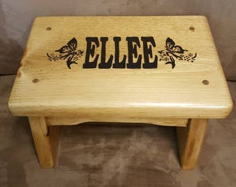 Girls Personalized Step Stool with Wood Burned Butterflies and Carrying Handles. Kid's Step Stool for bathrooms and kitchens. Kid safe.
