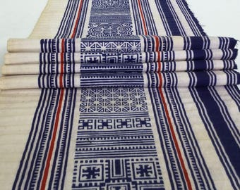 Hmong cotton,vintage Batik fabric textiles,table runner,fabric textiles decorated embroidery Hmong hill tribe From Thailand