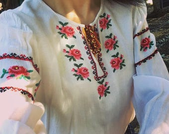 RARE Vintage hand embroidery / Ukraine Summer Blouse and with 3D Hand Embroidered Roses with Silk tread  / Sheer cotton