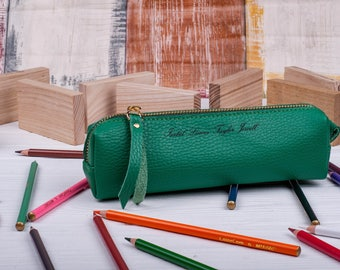 Personalized leather pencil case leather pen case pencil pouch leather pencil roll pencil holder leather pen holder leather pouch
