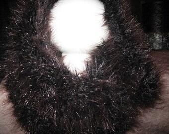 SNOOD tubular scarf knit Black/Brown