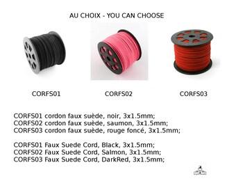 Cordon faux suède, dimension 3x1.5mm, noir, saumon, rouge foncé, gris clair, rose vif, camélia.  Faux Suede Cord,  3x1.5mm,  Black, Salmon,