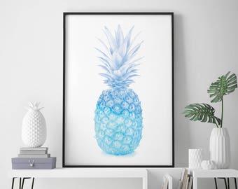 Blue Pineapple Watercolour Print Wall Art | 4x6 5x7 A4 A3 A2