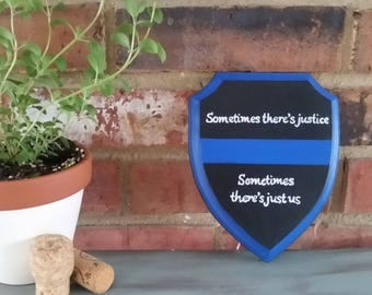 """Small 5""""x 7""""-Police Officer Customizable Wood Shield, Cop and Law Enforcement gifts"""
