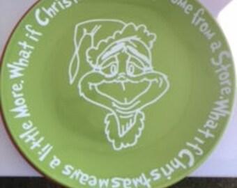 Grinch cookies plate, Christmas plate Cookies for santa,