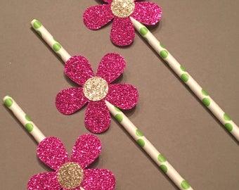 12 Pink Flower Straws Baby Shower Straws Wedding Shower Straws Birthday Party Straws Bachelorette Straws Pink Straws