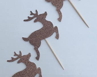 12 Reindeer Cupcake Toppers Glitter Cupcake Toppers Holiday Cupcake Toppers Birthday Cupcake Toppers Christmas Cupcake Toppers