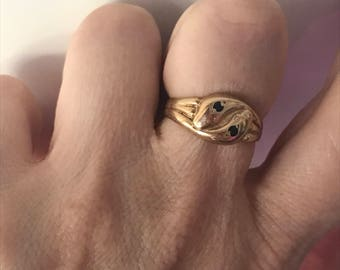 Antique victorian double snake ring#Double snake ring in 9 carat gold with sapphires#snakering#doublesnakering#