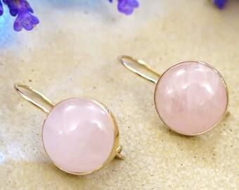 14K Yellow Gold Rose Quartz Earrings - 14K Drop Earrings - Gemstone Drop Earrings - Solid Gold Earrings - 14K Yellow Gold Earrings -