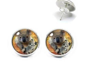 Studs 12 mm cabochon jewelry KOALA bear 1