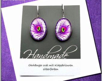 Earrings cabochon jewelry earrings, purple / purple feather
