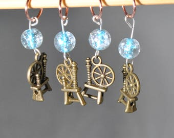 Silver Spinning Wheel Knitting Stitch Markers Set of 4