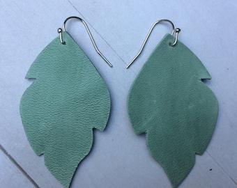 Green leaf leather earrings, small green leather leaf earrings, green leather earrings
